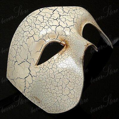 Men Classic Masquerade Mask Half Face Phantom Mask Halloween Costume - Ivory - Half Face Halloween Men