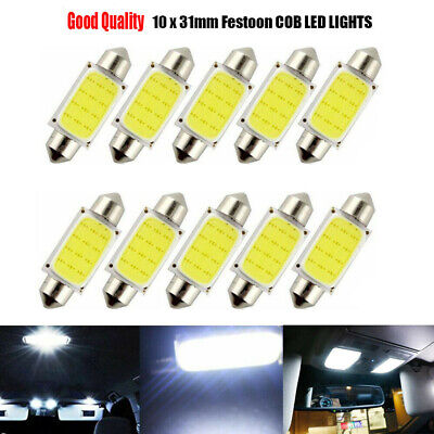 10× Festoon 31mm 12V C5W Car COB LED Light Reading Dome Map bulb Xenon White