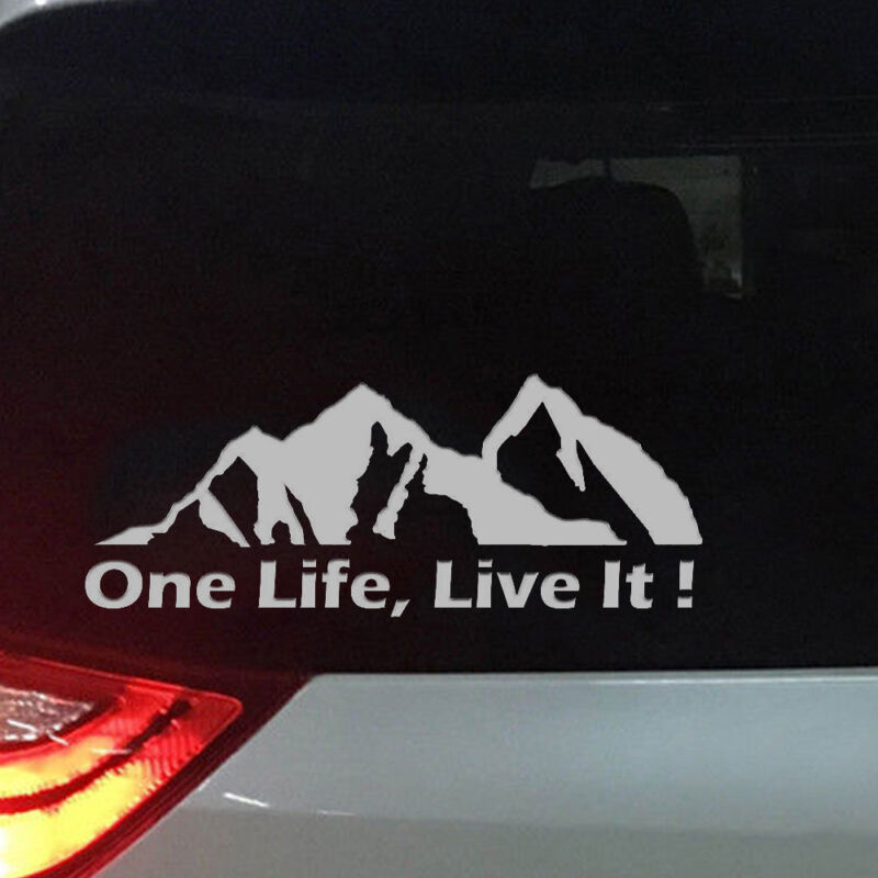 Off Road Mountain Silhouette Car Sticker Window PET Decals ONE LIFE LIVE IT