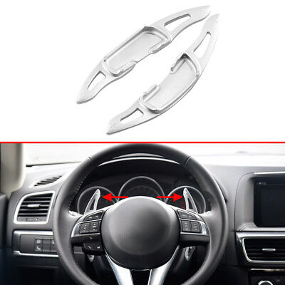 Silver Alloy Steering Wheel Shift Kit Paddle For Mazda 3 6 MX-5 Accessories Trim