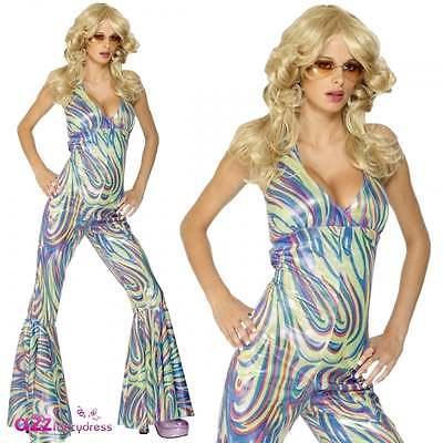 Womens 70s Sexy Dancing Queen Halterneck Catsuit Adult Fancy Dress Costume - Disco Queen Sexy Kostüm