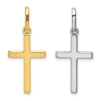 14K Yellow -OR- White Gold Cross Pendant Charm Religious 14k White Gold Cross Charm