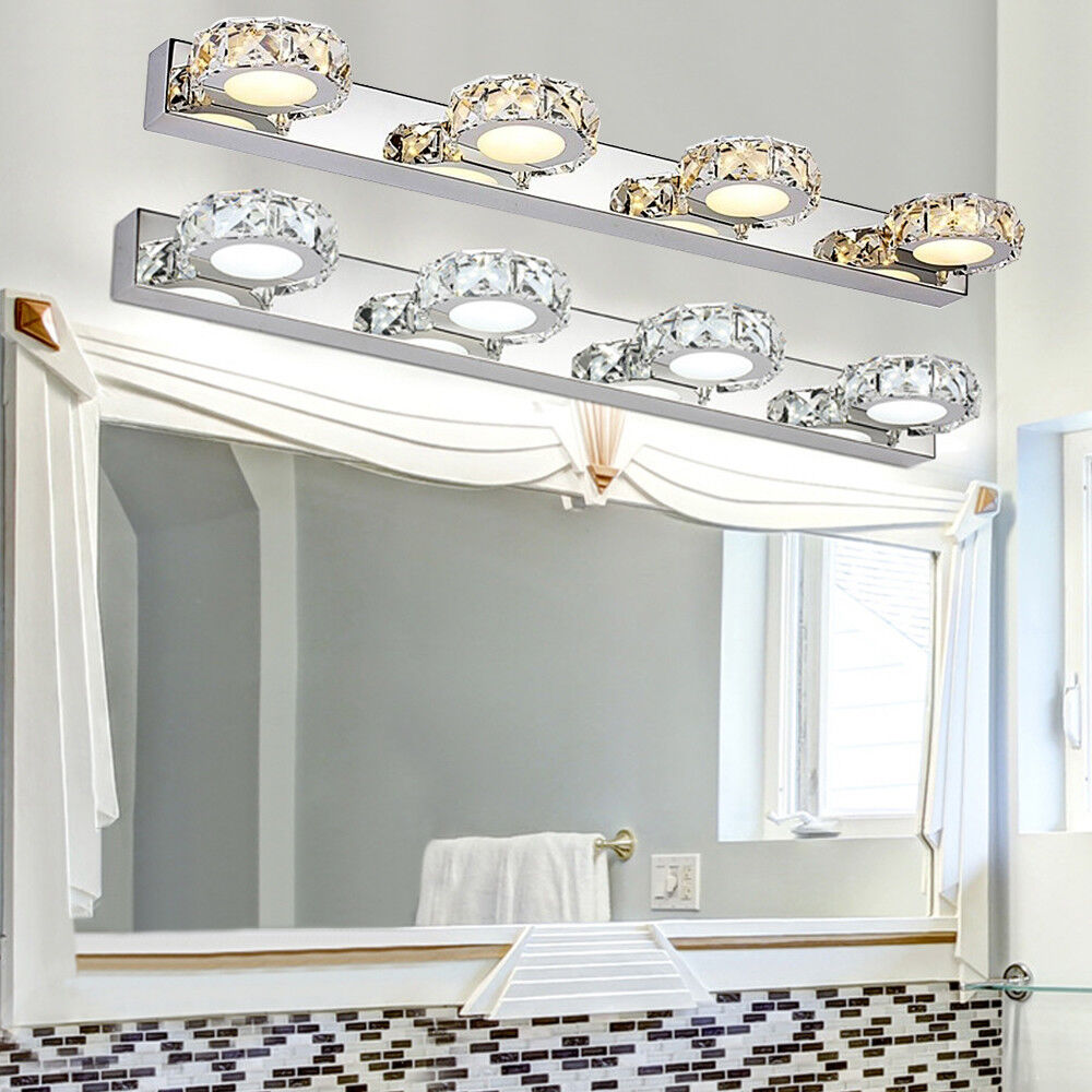 2/3/4Way Bathroom LED Crystal Mirror Light Wall Fixture Vani