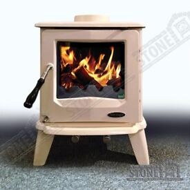 REDUCED !!!! CREAM 5KW ENAMEL STOVE multifuel multi fuel wood turf coal sunroom conservatory