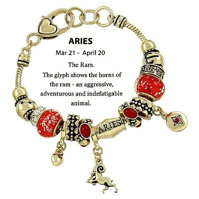 Zodiac Sign Aries Horoscope Bracelet Murano Beads Gift Boxed Fashion Jewelry
