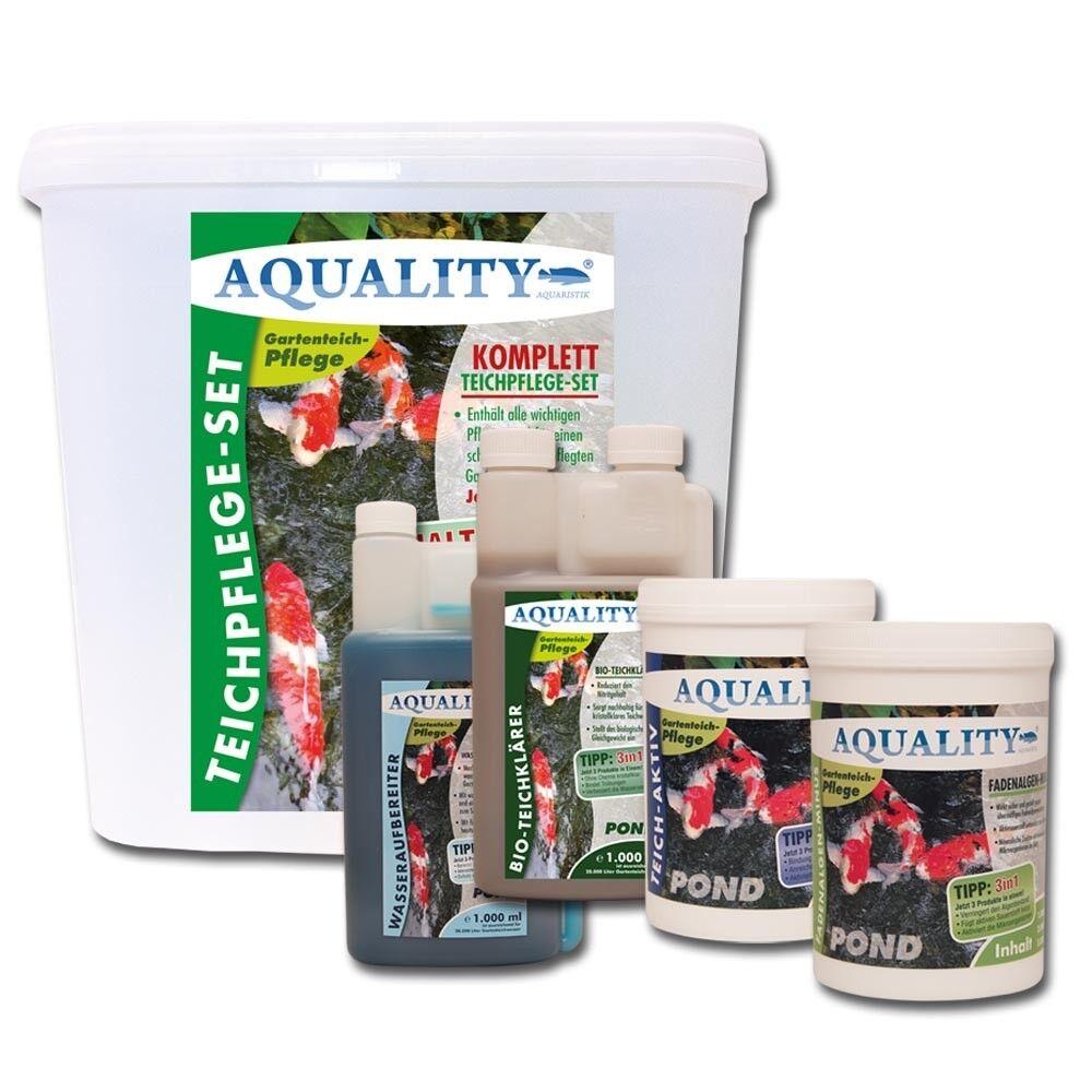 AQUALITY Komplett Teichpflege Set BASE mit Algenvernichter, Wasserklärer uvm.