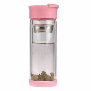 280ml pink chai buddy infuser glass bottle fruit tea coffee thermos travel ebay. Black Bedroom Furniture Sets. Home Design Ideas