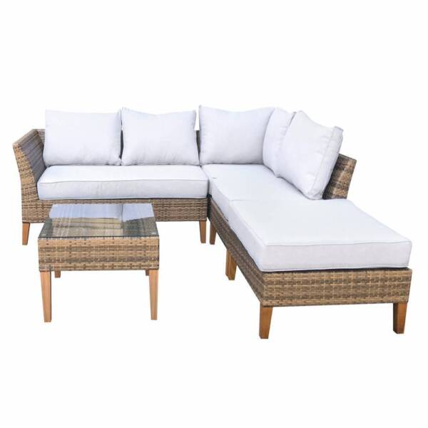... Wicker Outdoor Sofa Setting With Teak Legs Seven Hills Blacktown Area  Image 2. 4 + Part 25