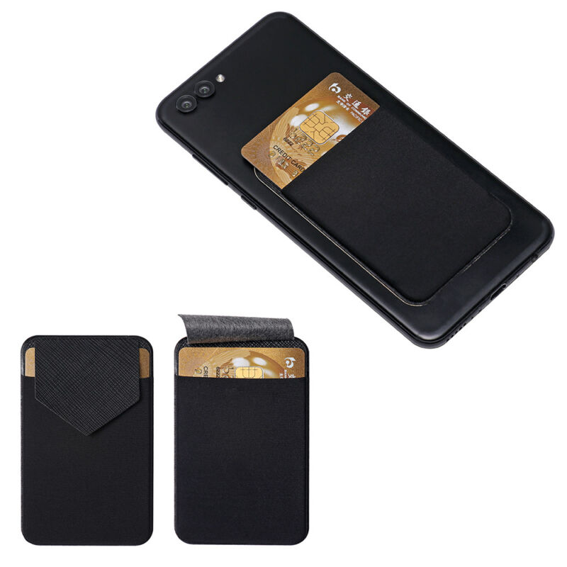 Cell Phone Card Holder >> Details About Leather Phone Card Holder Adhesive Sticker Wallet Case Cell Phone Pocket