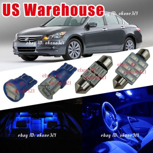 12x Pure Blue LED Lights Interior Package Kit For 03-12 Honda Accord Coupe Sedan
