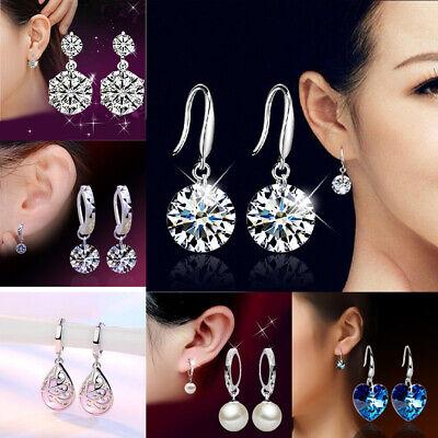 925 Sterling Silver Drop Earrings Heart Rhinestone Pearl Dangle Earrings Jewelry - Pearl 925 Sterling Silver Drop