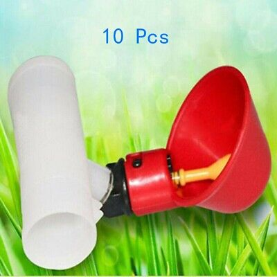 10 X Poultry Water Drinking Cups Pipe Fitting Chicken Automatic Drinker Coop Us