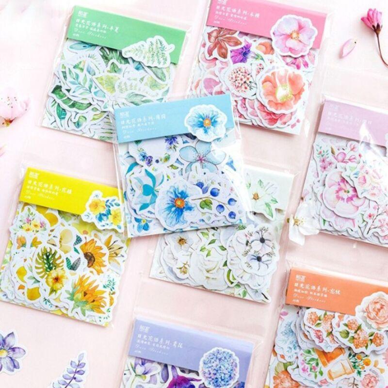 46pcs Cute Korean Japanese Journal Paper Diary Flower DIY Stickers Scrapboo Z7Z1