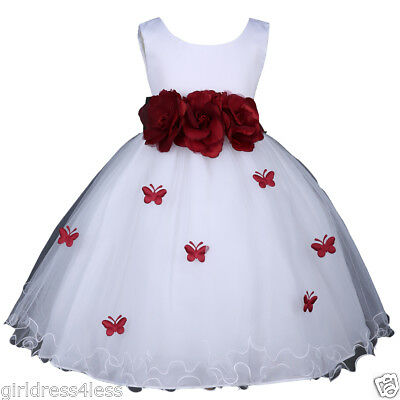 Petal Fairy Dress - US Seller White Butterfly Petals Halloween Princess Fairy Costumes Girl Dress