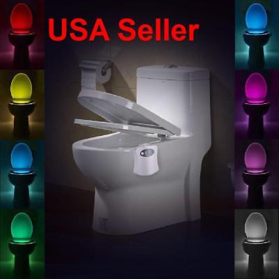 Motion Activated LED 8 Color Auto Toilet Bowl Bathroom Kids Night Light Lamp
