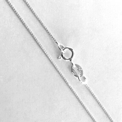 Sterling Silver Box Chain Necklace 0.7mm Thin Nickel Free Italy, 22