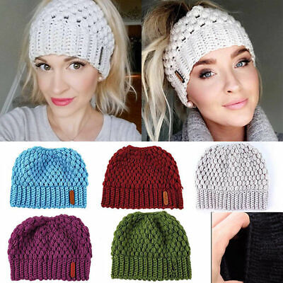 Winter Ponytail Beanie Hat Soft Stretch High Messy Knit Womens Ponytail Warm Cap