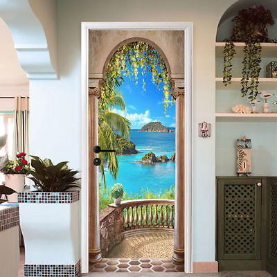 3D Sea Balcony Arch Door Sticker Self-adhesive Mural Photo Wall Decal