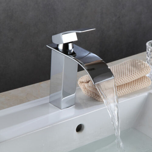 Waterfall Bathroom Sink Counter Taps Basin Mixer Tap Chrome Square Mono Faucet