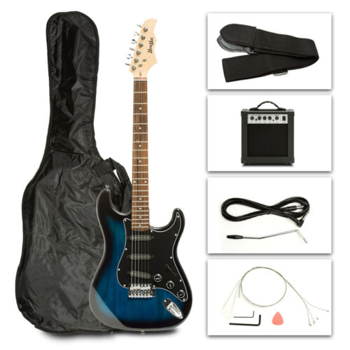39'' Electric Guitar w/Accessories & 15W-AMP Beginner Full Size Blue + Carry Bag