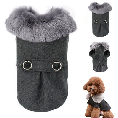 Dog Coat Winter with Fur Collar Woolen Dog Jacket for Chihuahua Poodle Beagle](Costumes With Fur Coat)