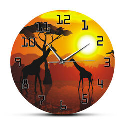 Wildlife Giraffe Wall Clock Serengeti African Sunset Savannah Safari Timepiece