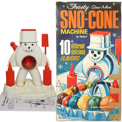 1960s Frosty Snowman SNO-CONE MACHINE with BOX TOP PANEL by HASBRO