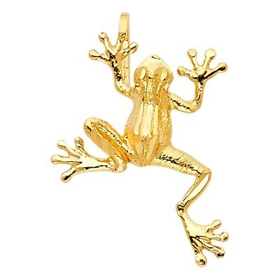Frog Slide Pendant Jewelry - Shinny 15mm Toad Frog Slide Fun Charm Real 14k Yellow Solid Italian Gold Pendant