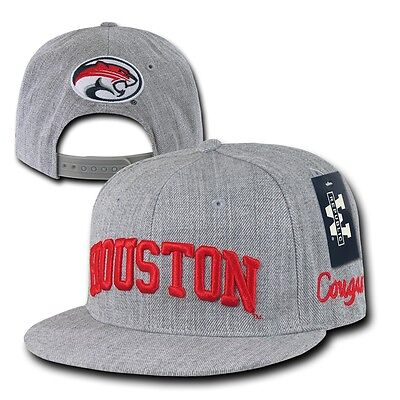Gray University of Houston UH Cougars NCAA Flat Bill Snapback Baseball Hat Cap Houston Cougars Hat