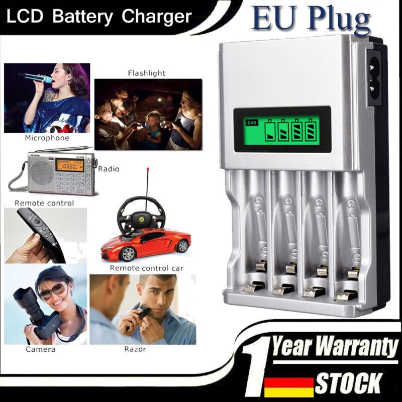 Akku Batterie Aufladegerät LCD Ladegerät für 4 AA AAA Schnelladegerät