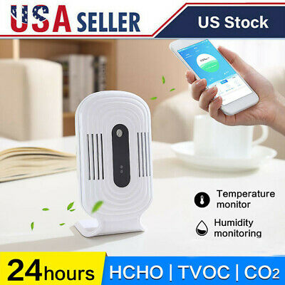 Smart Wifi Home Indoor Air Quality Analyzer Co2 Hcho Tvoc Tester Detector C1k8