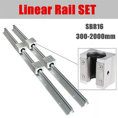 Sbr16 Linear Rail Set 300-2000mm Shaft 2x Rod With 4x Sbr16uu Bearing Blocks Cnc