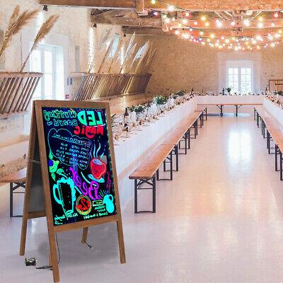 Double Sides Led Flashing Wooden Chalk Board Blackboard For Bar Restaurant Shop
