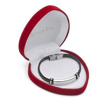 ID Leder Armband in Herz Box mit GRAVUR Valentinstag Jahrestag Hochzeit Geschenk
