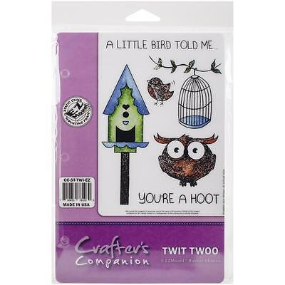 Crafters Companion Red Rubber Ez Mount Stamps Twit Twoo  6 Pieces
