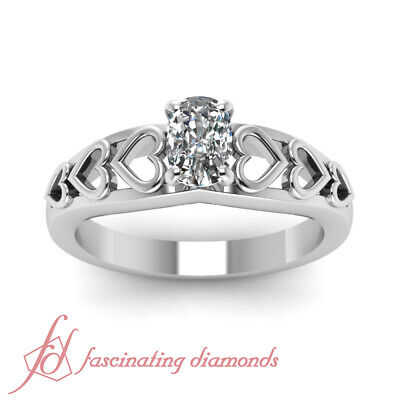1/2 carat Vintage Cushion Cut Solitaire Engagement Ring GIA Ring Size 4-9 VS1 1