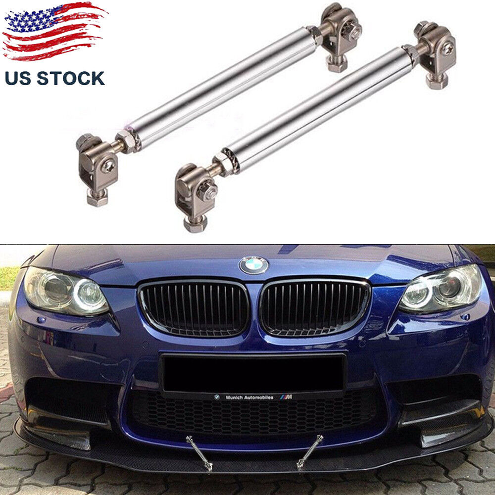 "Silver Adjustable  8/""-11/"" Front Bumper Splitter Strut Rod Bars Support For BMW"