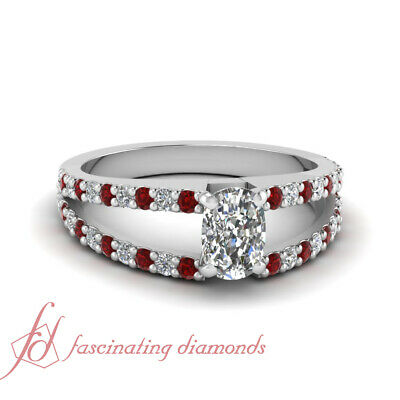 .90 Ct Cushion Cut Diamond & Ruby Engagement Ring Pave Set 14K VVS2-G Color GIA