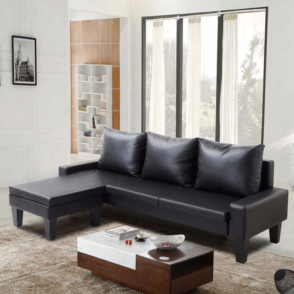 Black Leather Corner Sofa Ebay: 2PC Modern Configurable PU Leather Sectional Sofa Set W