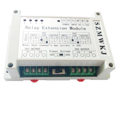5-30V Relay Extension Module 2 Channel 40A for 12V/24V DC Brush Motors DC Loads
