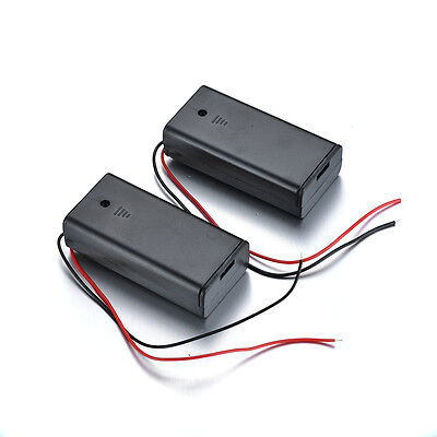 2pcs Wire Leads Battery Cell Holder With Switch Cover For 2aa 1.5v Batteries