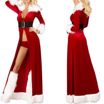 Christmas Women Sexy Long Sleepwear Fluffy Fur Belt Underwear Nightdress - Christmas Robes