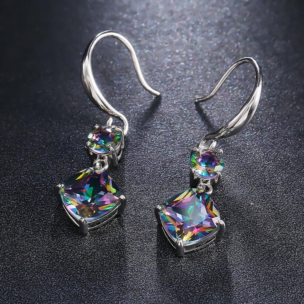 Women Jewelry Mystic Topaz Drop Earrings 925 Silver Earring for Women A Pair/set 5