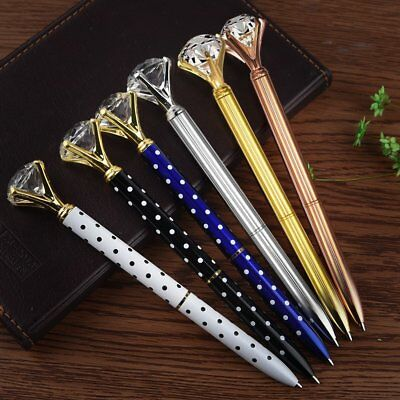 6 Pieces Crystal Diamond Pens Bling Rhinestone Metal Ballpoint Pens Black Ink