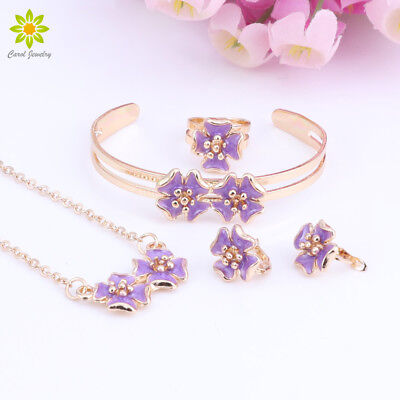 Baby Kids Children Girl Jewelry Sets Cute Flower Pendant Necklace Earring Set Baby Set Jewelry Set