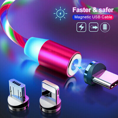 Led Light Magnetic Charger Cable Glow Fast Charging Micro USB IOS Type C 1M 2M