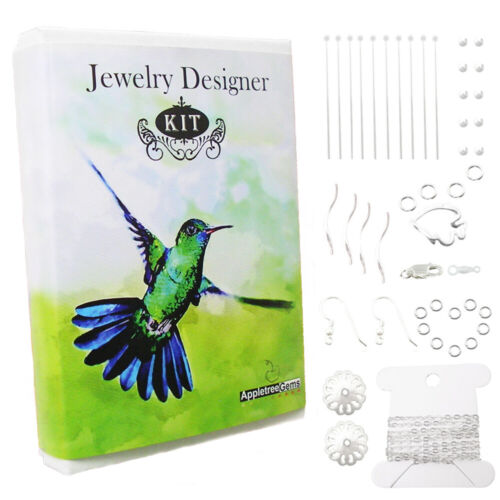 925 Sterling Silver Jewelry Making Kit: Chain, Earwires, Lobster Clasp...