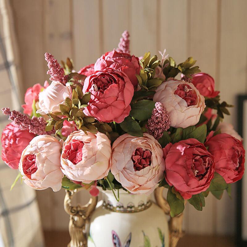 13-Kopf künstliche Seidenblumen Europäische Pfingstrose Hochzeit Floristik Dekor