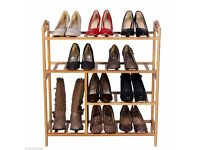 4 Tier Natural Bamboo Shoe Boot Rack Storage Organiser Holder