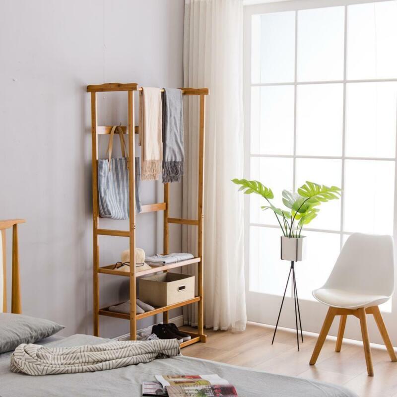 Bamboo Coat Rack Shoe Bench Tree Storage Shelf Home Furniture Entryway Hall
